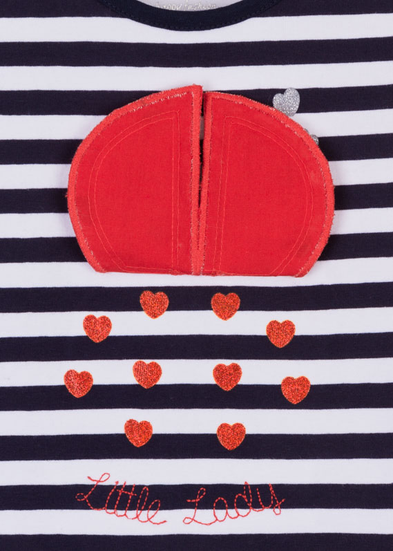 Marinière stripe dress with moving ladybird appliqué.