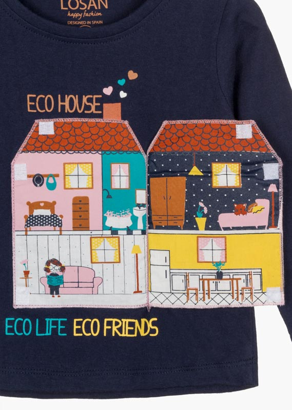T-shirt featuring a 3D house appliqué to the front.