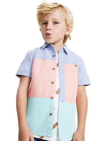 Rainbow oxford fabric insert shirt.