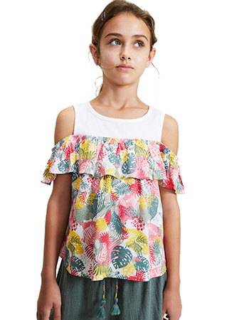 Sleeveless leaf print blouse in pink.