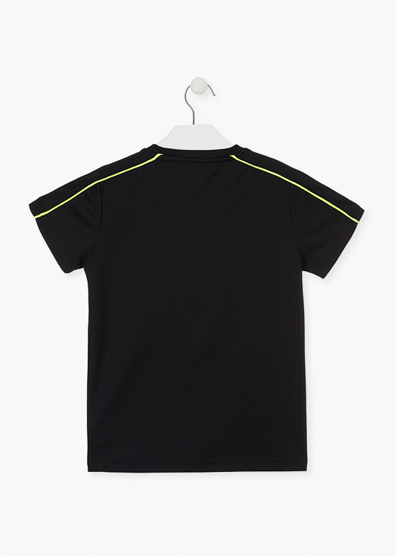 Black technical fabric t-shirt.