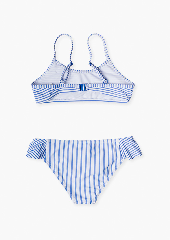 Stripe bikini set with ruffle.