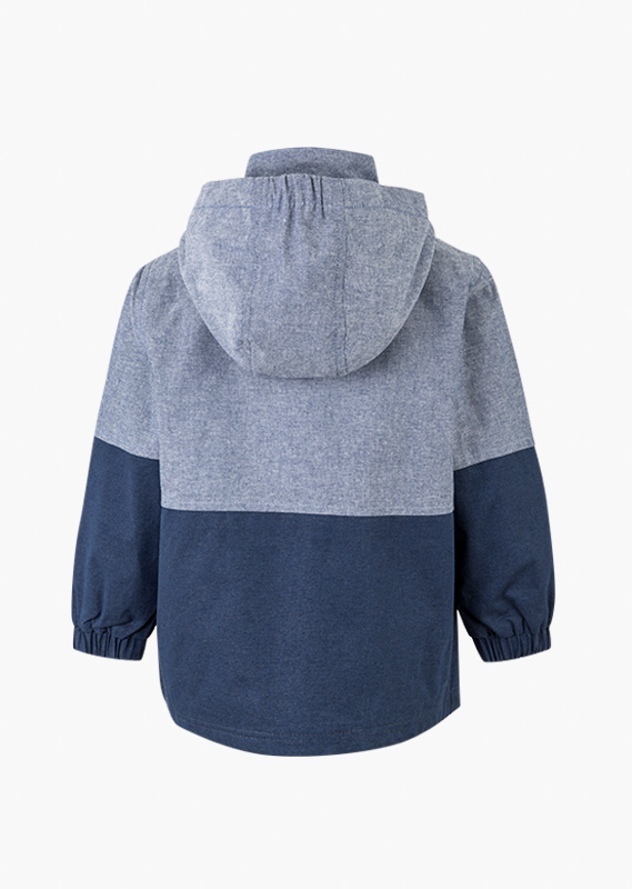 Blue hooded jacket.