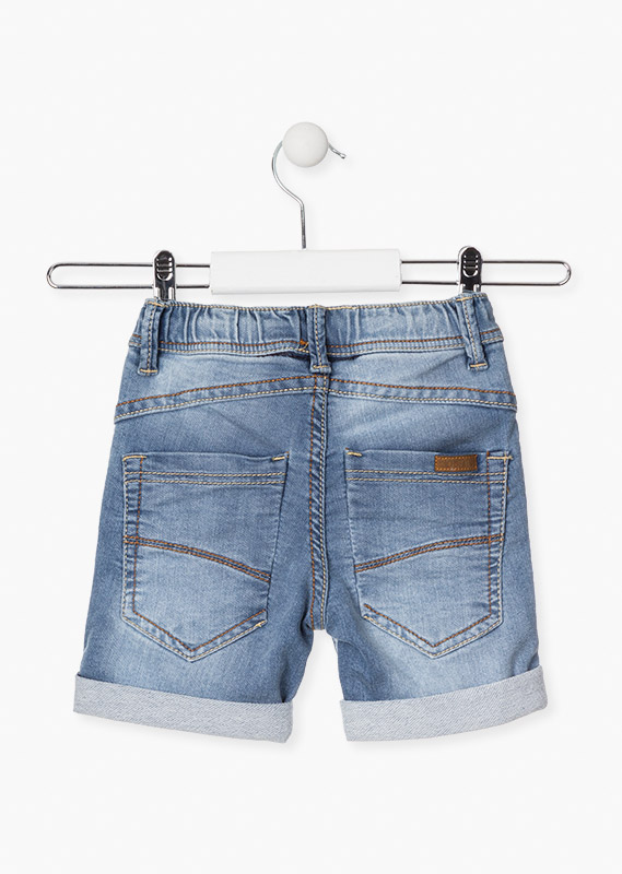 Roll-up shorts in mock-plush denim.