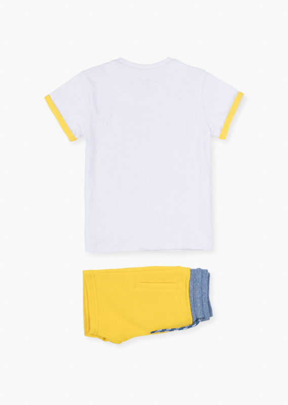 Embroidered sun t-shirt & shorts set.