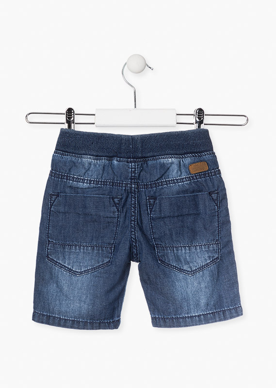 Denim shorts with ribbed waist.