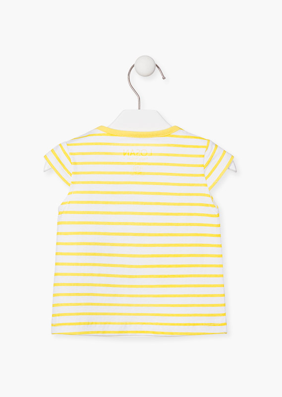 White t-shirt with yellow stripes.