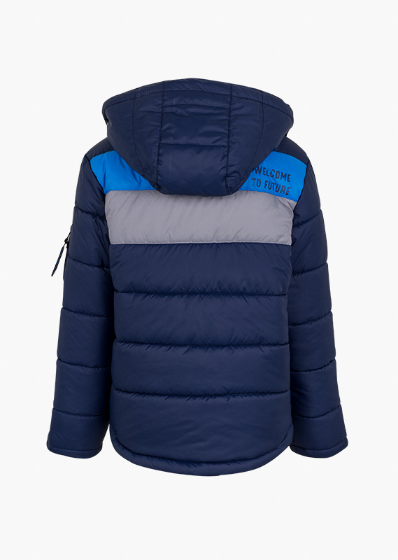 Quilted jacket with sleeve pocket.