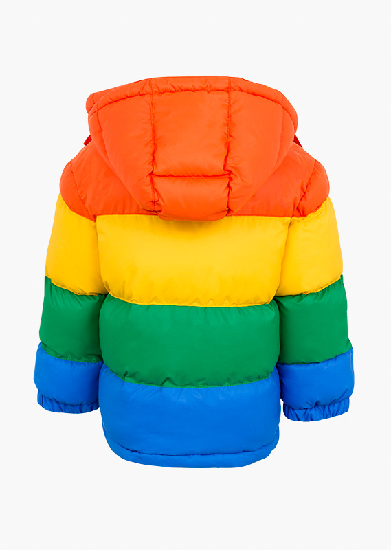 Rainbow jacket with rubber tag on the chest.