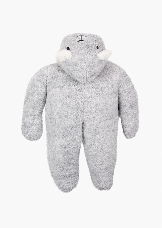 Fluffy onesie with a hood with little ears.
