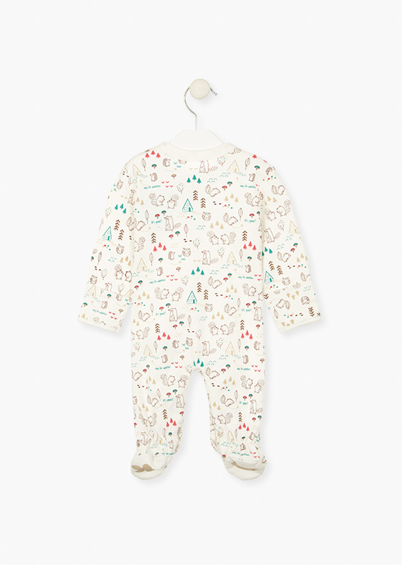 Hiking-themed print sleepsuit.