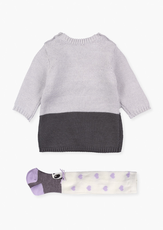 Knit dress & tights set.
