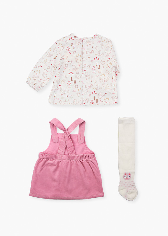T-shirt, pinafore dress and tights set.