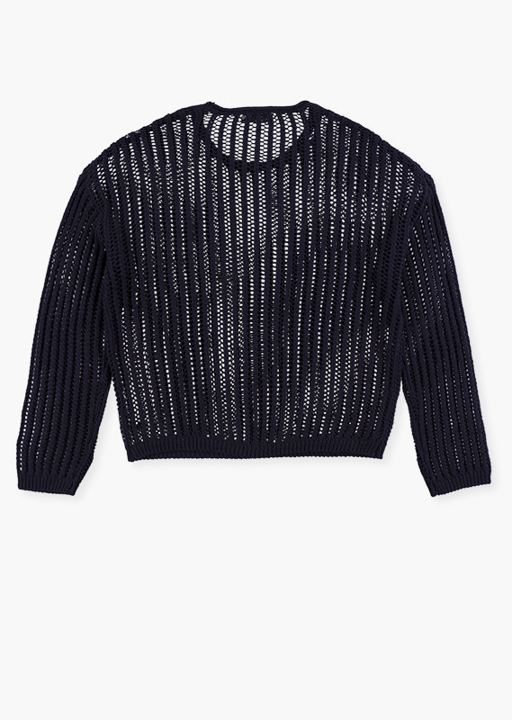 Knit jumper in blue.