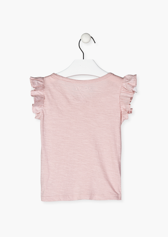 Ruffle sleeve t-shirt.