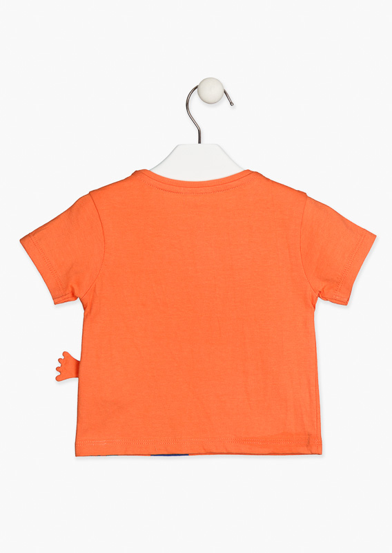 Orange t-shirt with short sleeves.