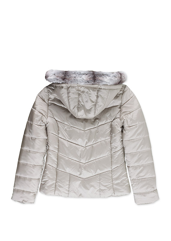 Padded jacket in shiny fabric.