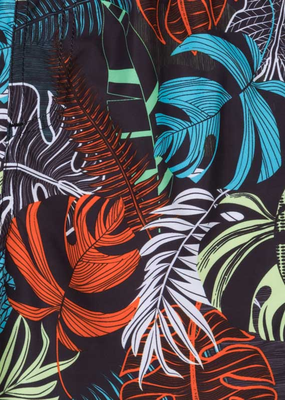 Tropical print swim trunks in microfiber.