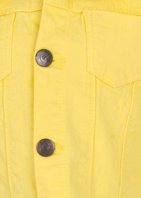 Yellow denim jacket.