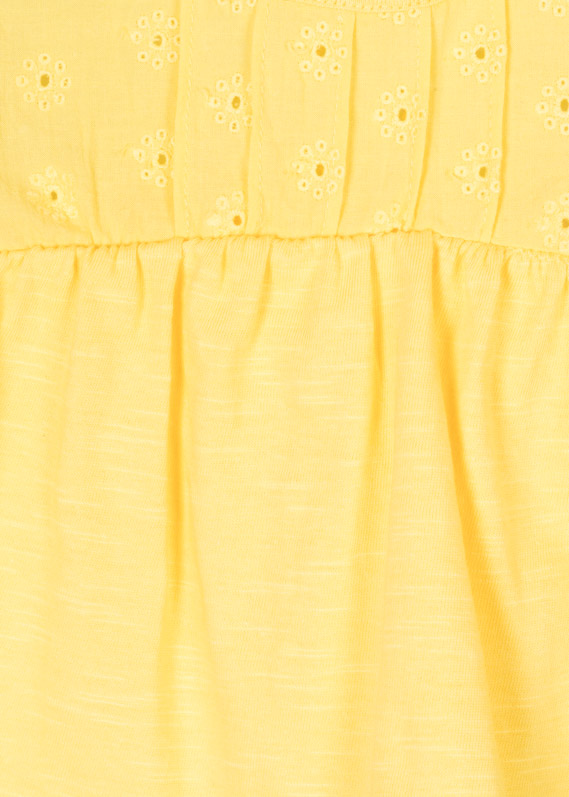 Fabric-mix t-shirt in yellow.
