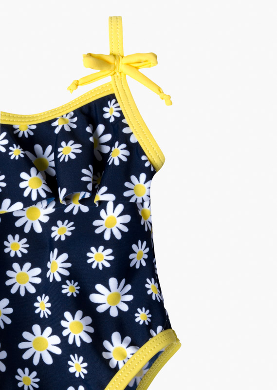 All-over daisy print swimsuit.