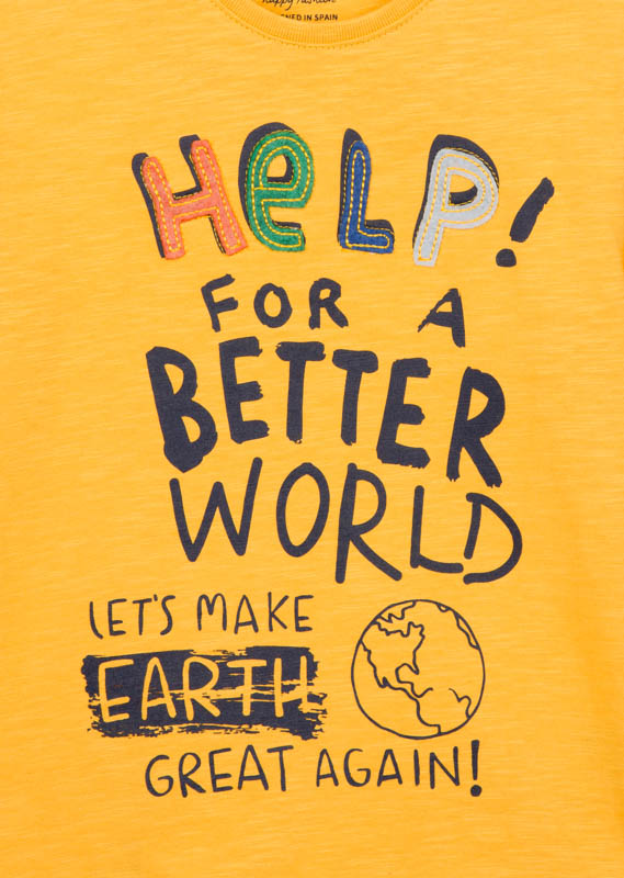 Save the planet print t-shirt.