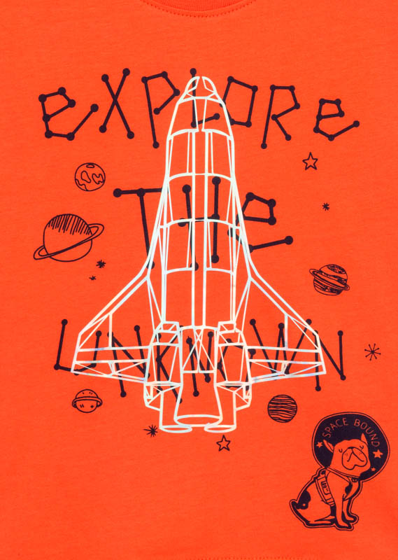 Space-themed print t-shirt with rocket design.