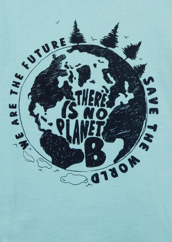 Save the planet slogan t-shirt.