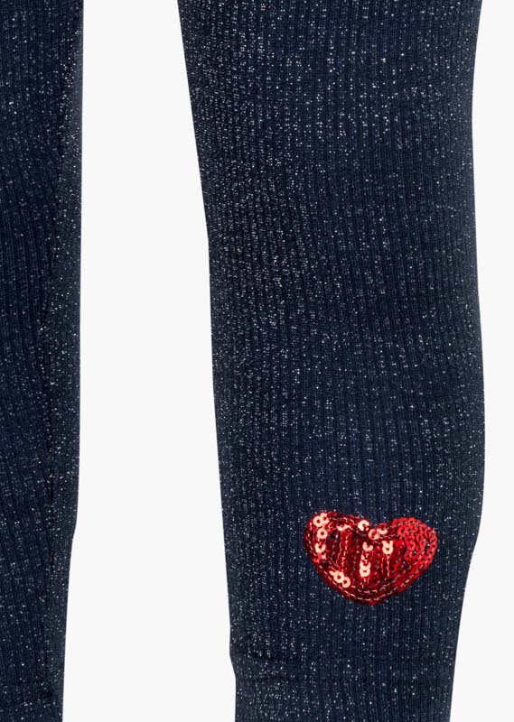 Sequined heart cuff leggings.