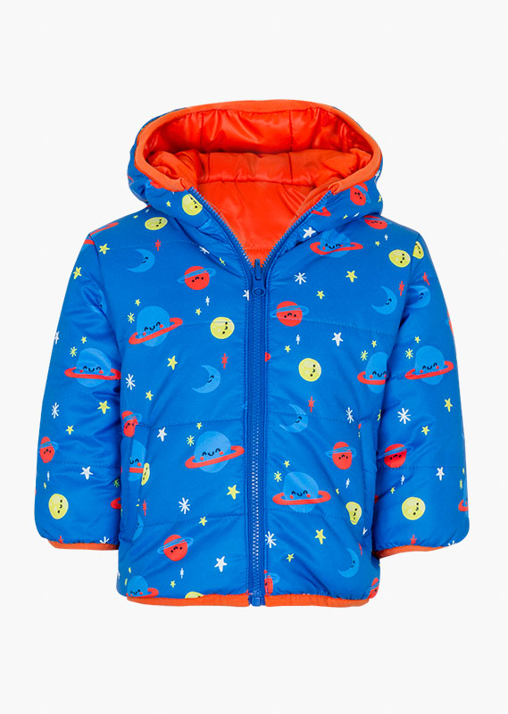 Reversible jacket with space-themed print.