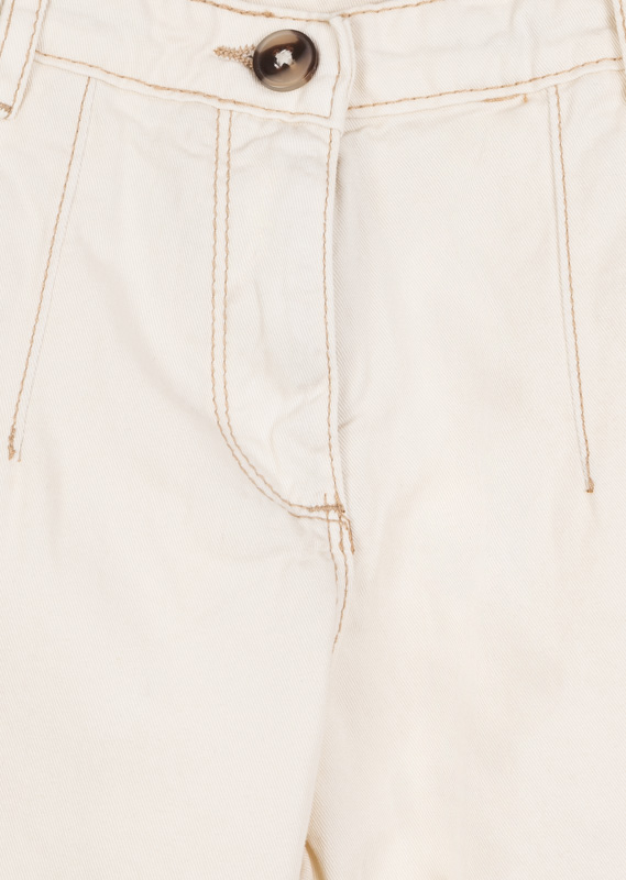 Ecru organic cotton trousers.