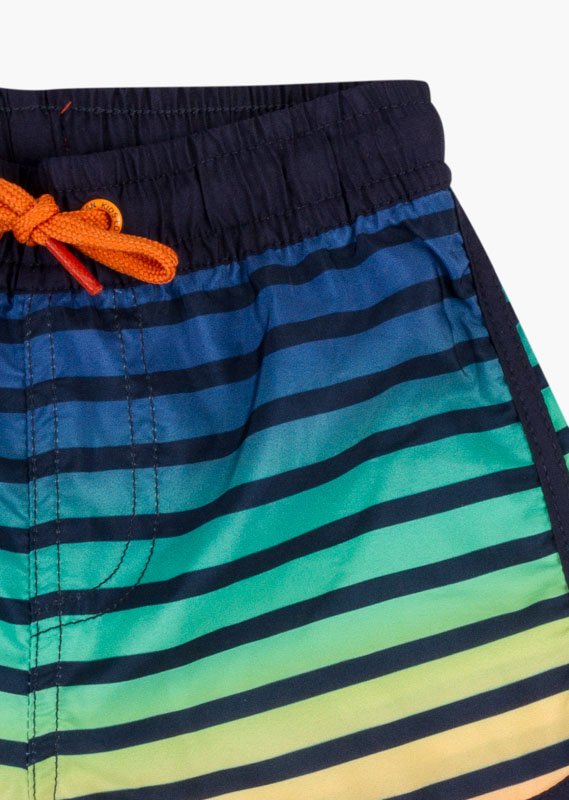 Stripe print swim trunks in blue.