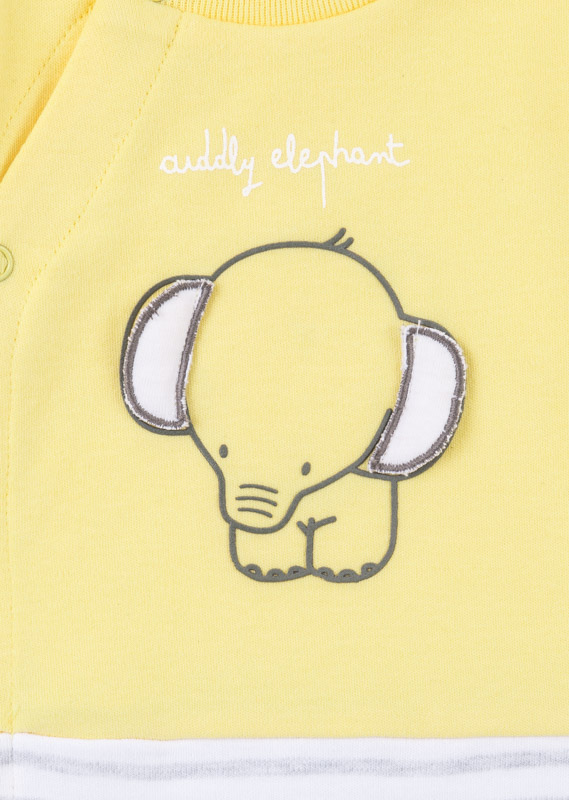 Yellow sleepsuit with elephant.