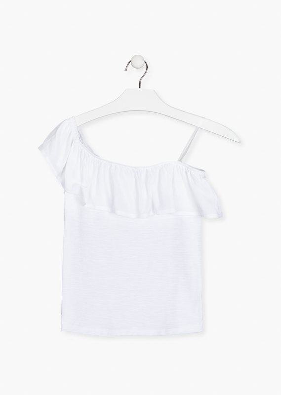 White one shoulder top.