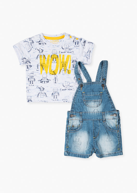 Robot print t-shirt & dungaree set.