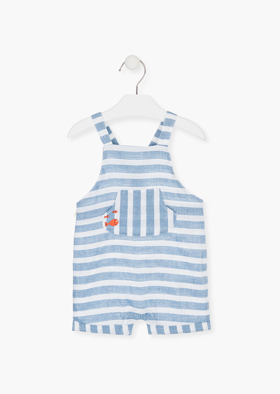 Striped dungaree in white and blue.