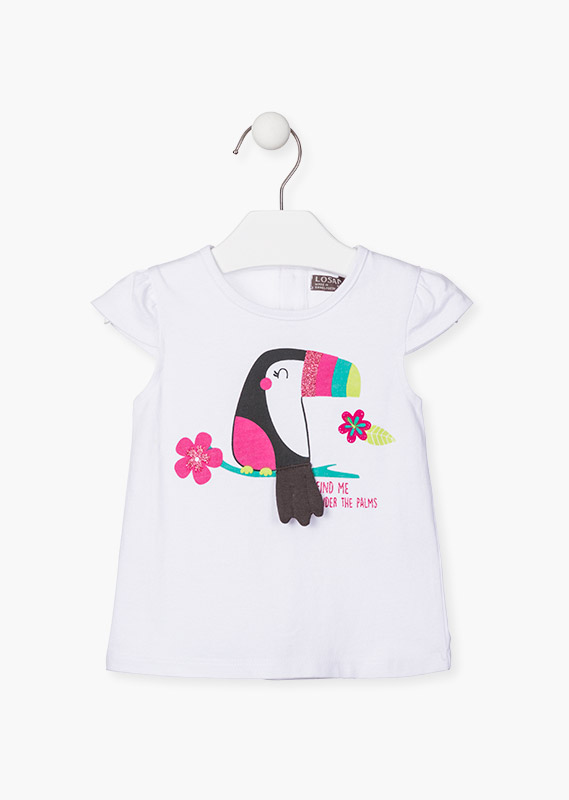 Printed toucan front t-shirt.