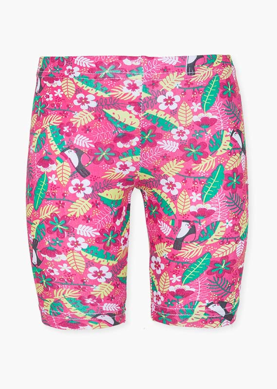 Leggings with printed toucans and flowers.