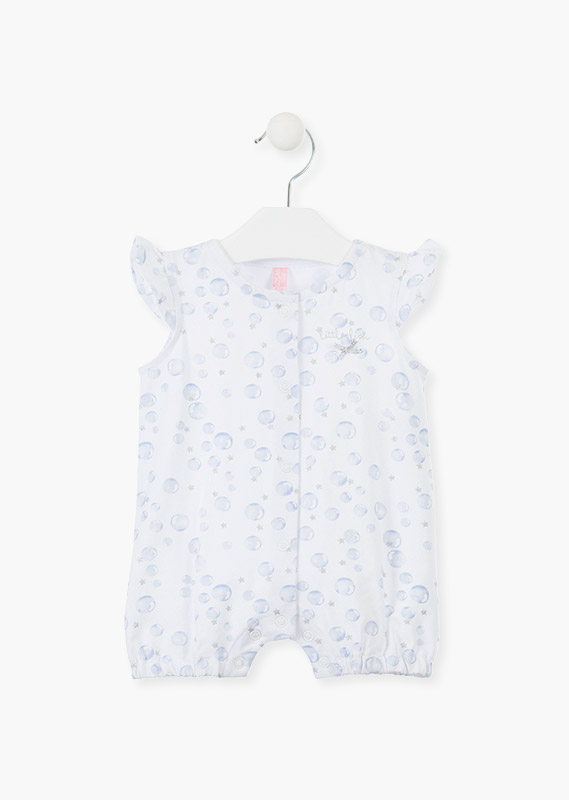Short sleeve cotton onesie with bow ruffle.