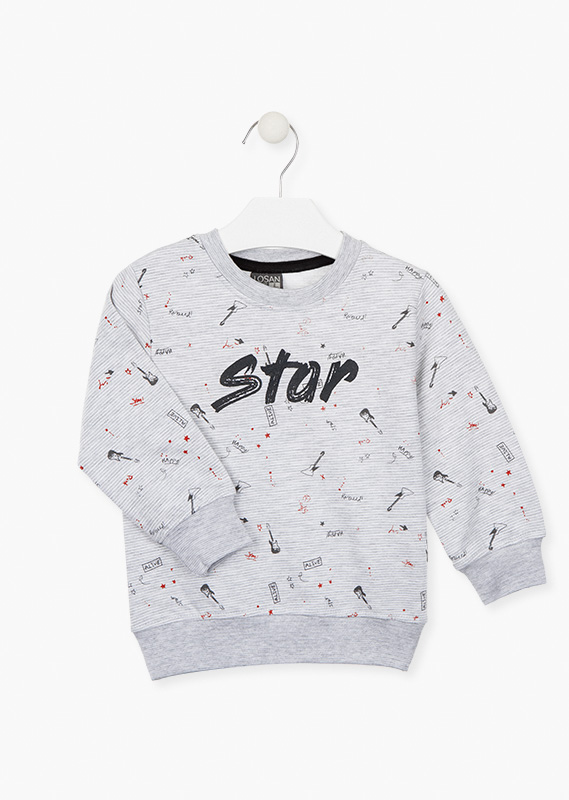 Printed guitar sweatshirt.