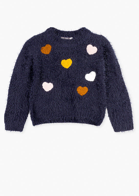 Heart-shaped terrycloth patch jumper.