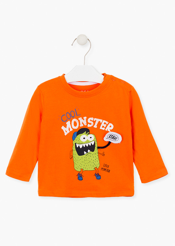 T-shirt with printed monsters.