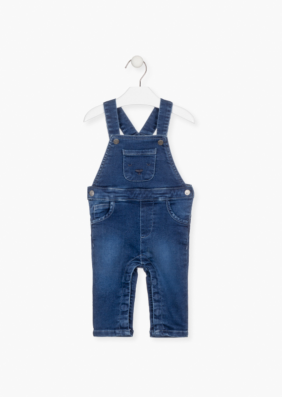 Faux-denim dungaree with embroidered pocket.