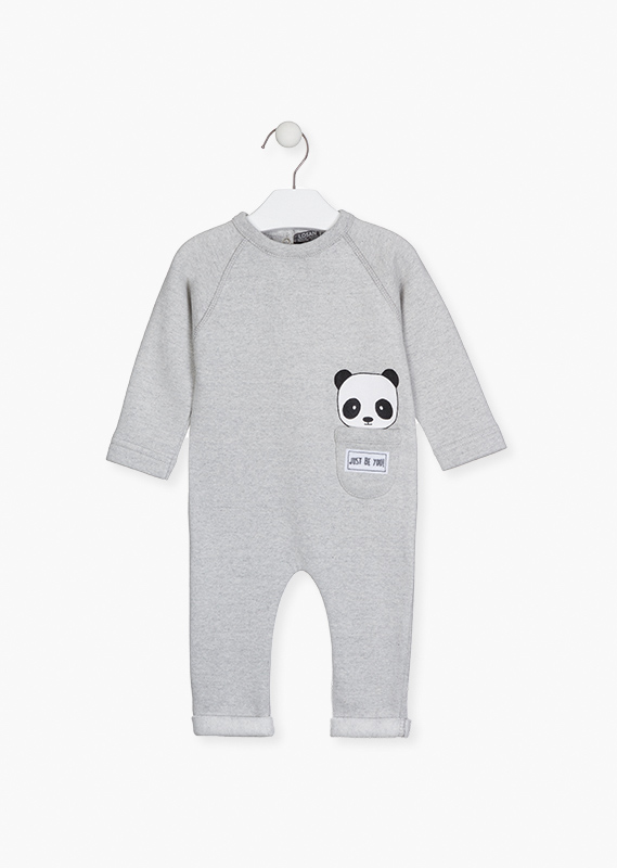 Plush onesie with a pocket.