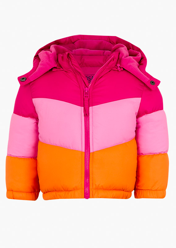 Pink and orange quilted jacket.