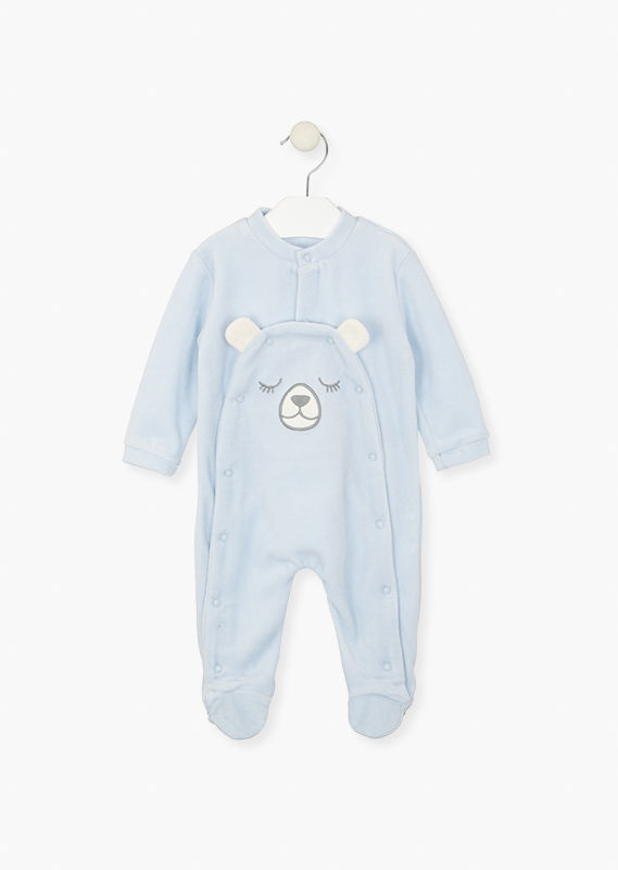 Sleepsuit with feet in velour.