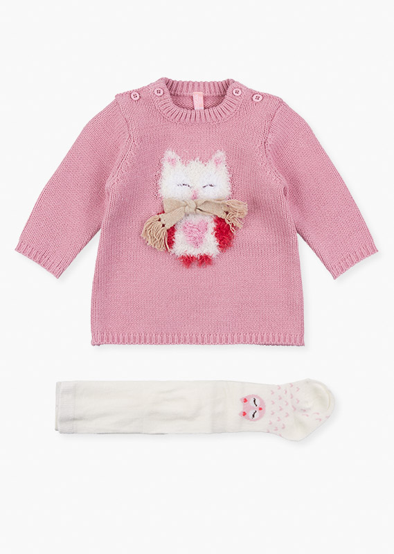 Knit dress & tights set with owl detail.