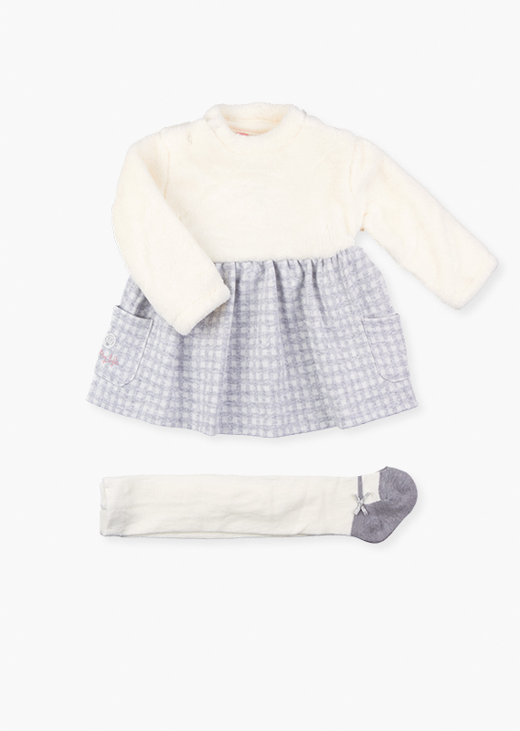Check dress & knit tights set.