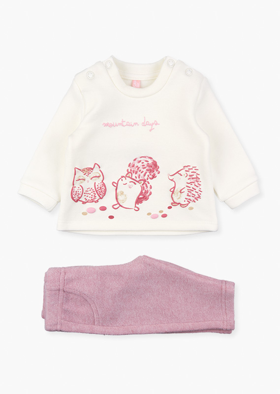 Animal motif sweatshirt & trousers set.