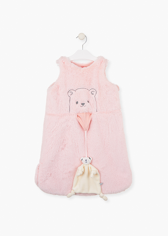 Sleeveless babygrow in a fluffy fabric.